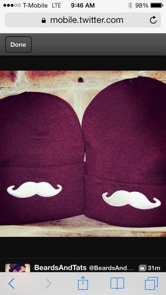 mustache beanie hat black mustache beenie