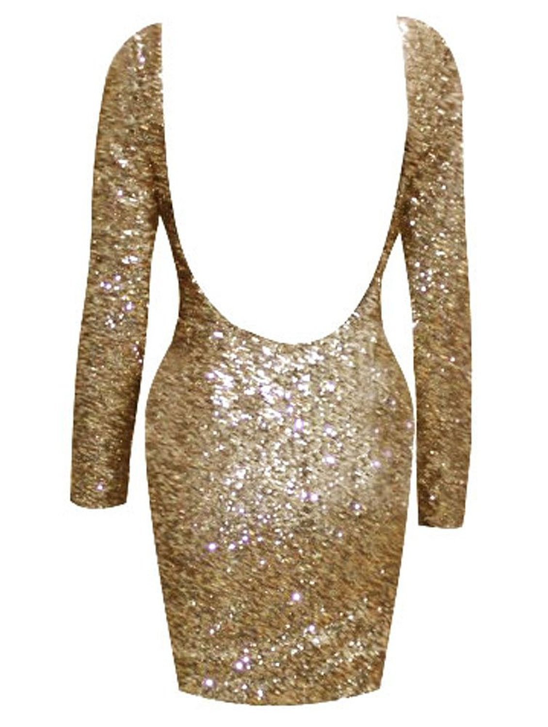Open back backless sequin long sleeve bodycon dress at amazon women's clothing store: