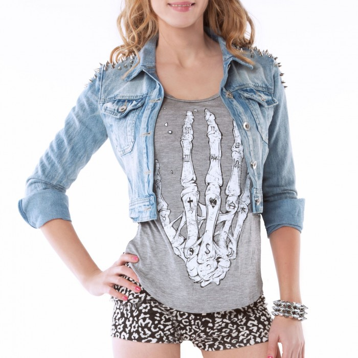 Tiffany Spiked Denim Jacket | Shop Maneater