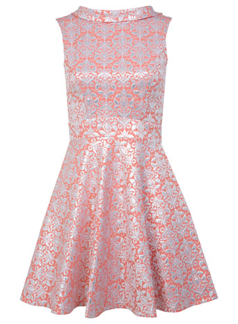 Coral Floral Jacquard Dress - Dresses  - Clothing  - Miss Selfridge