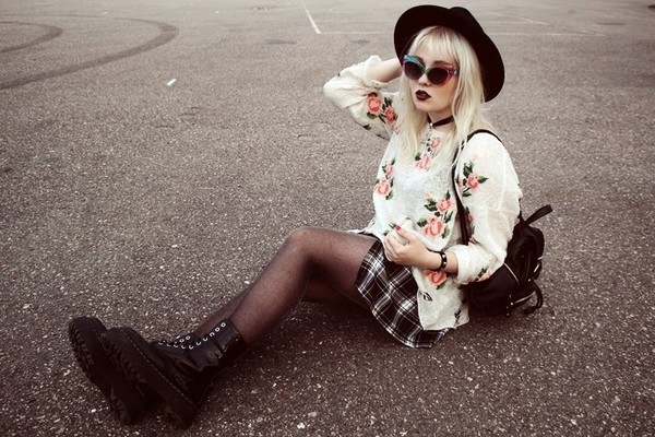 thelma malna skirt shoes sunglasses sweater
