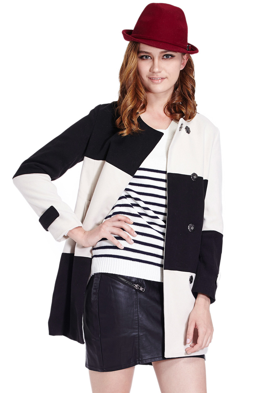 ROMWE | Black-white Check Long Sleeve Woolen Coat, The Latest Street Fashion