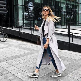 coat tumblr grey coat duster coat long coat sunglasses denim jeans blue jeans ripped jeans sneakers grey sneakers top black top