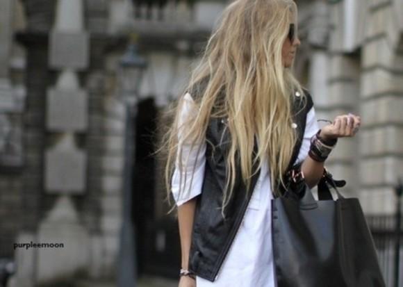 bag leather jacket leather jacket vest messy leather bag sunglasses leather vest white t-shirt white fashion