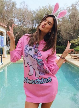 sweater pink alessandra ambrosio model off-duty instagram unicorn bunny ears mini dress dress