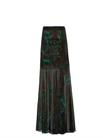 skirt silk print green