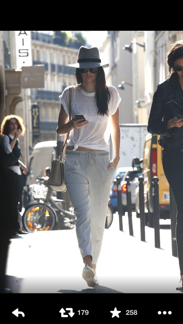 kendall jenner grey pants hat
