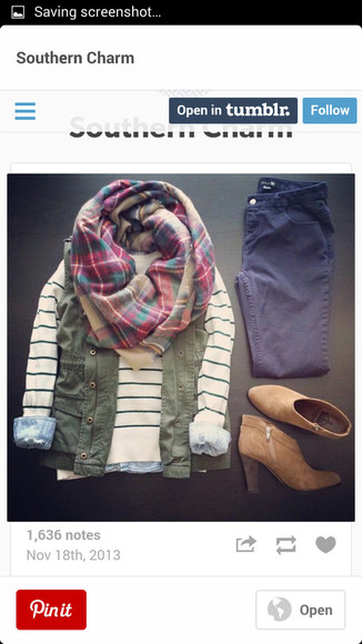 back to school striped shirt jeans scarf flannel scarf flannel ankle boots