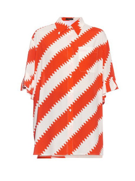 GILES Pinked stripes-print crepe shirt in red / white