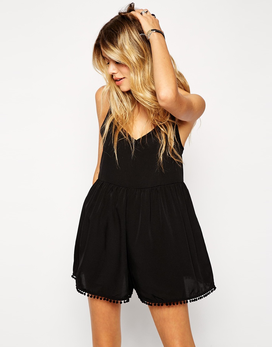 ASOS Pom Pom Trim Beach Playsuit at asos.com