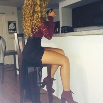 skirt red dress high-heels shoes lace top black dress burgandy booties shoes shoes blouse