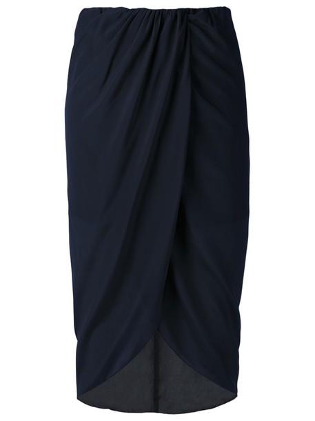 EGREY skirt midi skirt high waisted high women midi blue silk