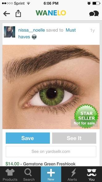 make-up eye makeup contacts green cute makeup bag makeup