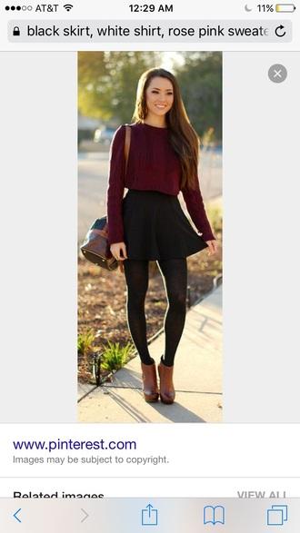 skirt black sweater