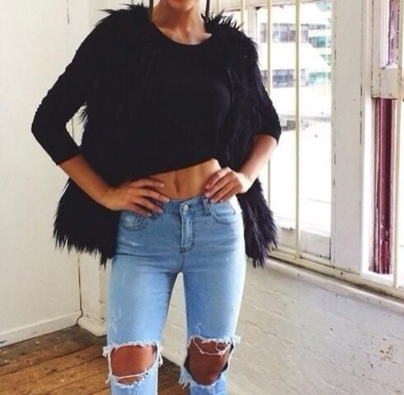 high waisted vintage denim jeans cardigan cut jeans ripped jeans