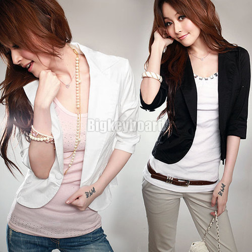 New Womens Slim Short One Button Suit Blazer 3/4 Sleeve OL Outwear Jacket Coat Free Shipping-in Basic Jackets from Apparel & Accessories on Aliexpress.com