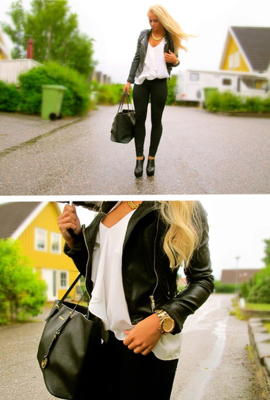 shirt white white top bag blonde anna nyström blogger black chiffon