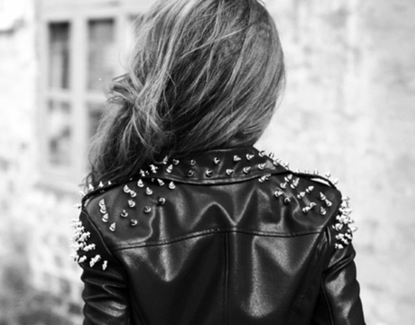 jacket black leather jacket rivets