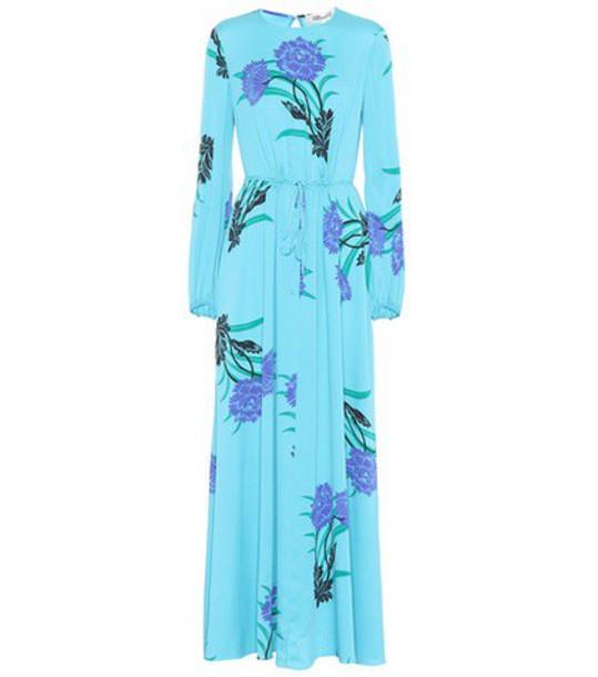 Diane Von Furstenberg dress silk dress floral silk blue