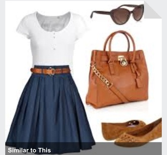 belt fall outfits circle skirt bag sunglasses