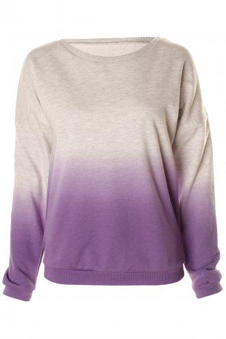 Grey & Purple Ombre Dip Dye Lightweight Cotton Jumper -  from Lavish Alice UK