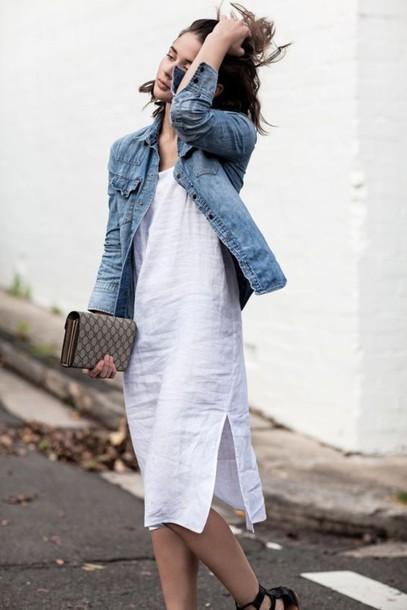 0e4397244a5 dress linen linen dress midi dress white dress slit dress denim jacket blue  jacket jacket bag