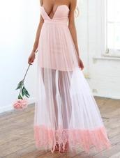 dress,maxi,blush,crochet,pink crotchet maxi,chiffon,blush pink