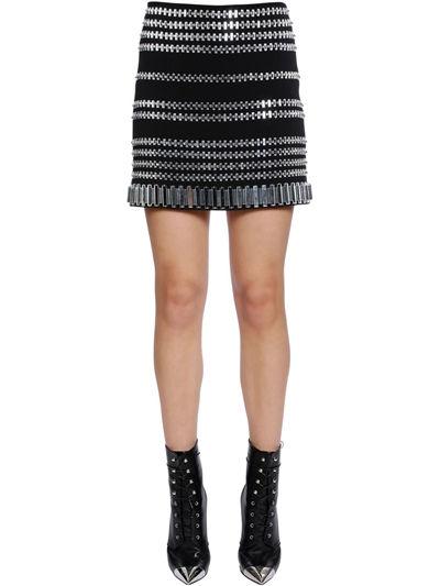 DAVID KOMA, Embellished cady skirt, Black/silver, Luisaviaroma