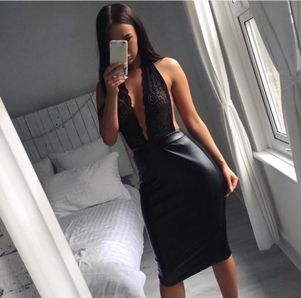 dress black dress midi dress