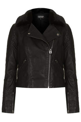 Faux Fur Collar Biker Jacket - Jackets & Coats  - Clothing  - Topshop