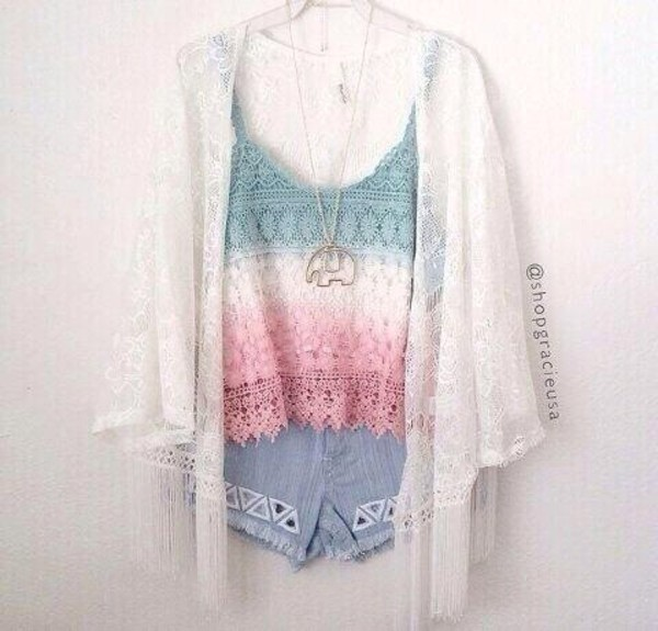tank top shirt blouse blue sweater white lace sheer sweater top lace lace top