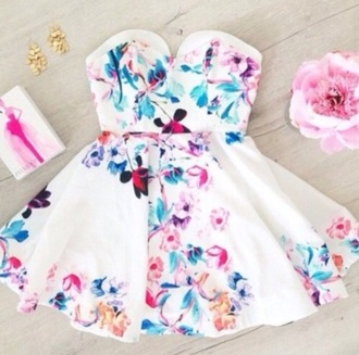 dress white dress spring flowery dress strapless dress white strapless dress floral dress