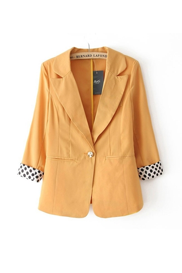 Three Quarters Sleeves One Button Slim Blazer [FFBI0246]- US$31.72 - PersunMall.com