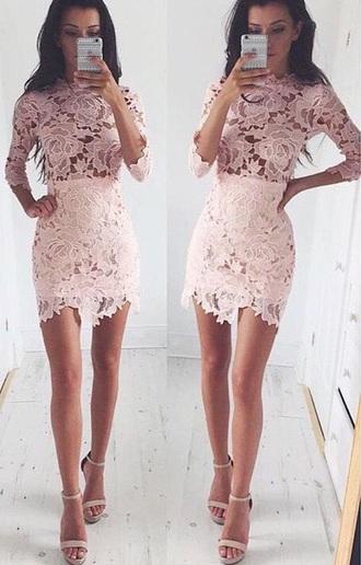 dress pastel pink lace floral dress
