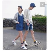 dress,streetstyle,ulzzang,K-pop,k-drama,korean fashion,korean style,korean celebrities,nike shoes,snapback,denim dress,overalls,nike,white sneakers