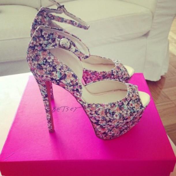 shoes floral heels