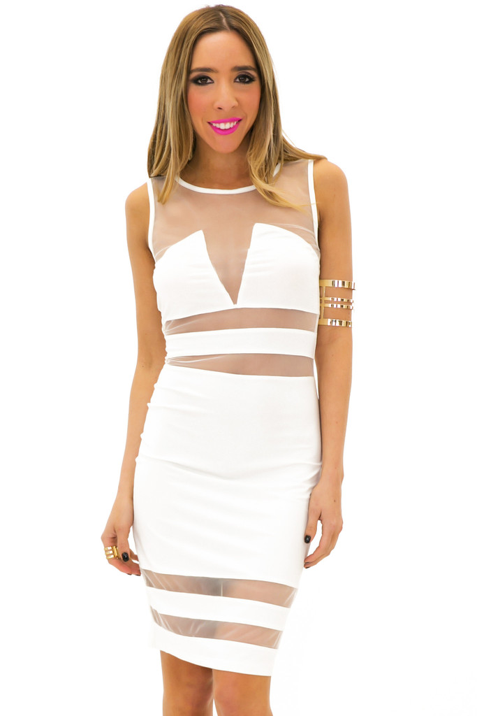 BADGLEY MESH CONTRAST DRESS - White | Haute & Rebellious