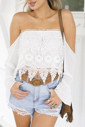 top,beautiful,beautiful halo,boho,summer,summer outfits,cute,girly,lace top,off the shoulder,streetstyle,blouse,girl,girly wishlist,white,white top,lace,style