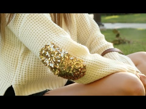 Diy sequin elbow patch sweater!