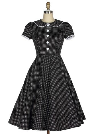 1940s 40s vintage black dress polka dots housewife rockabilly