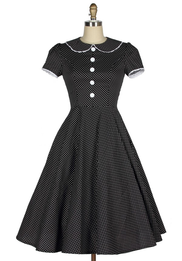 1940s 40s vintage black dress polka dots housewife rockabilly