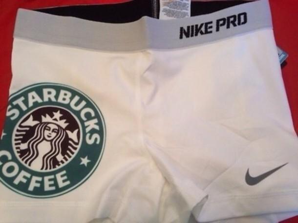 shorts nike pro white starbucks coffee