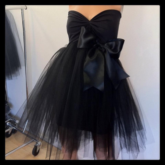 Black satin tutu tulle princess cocktail dress by sxyfitness
