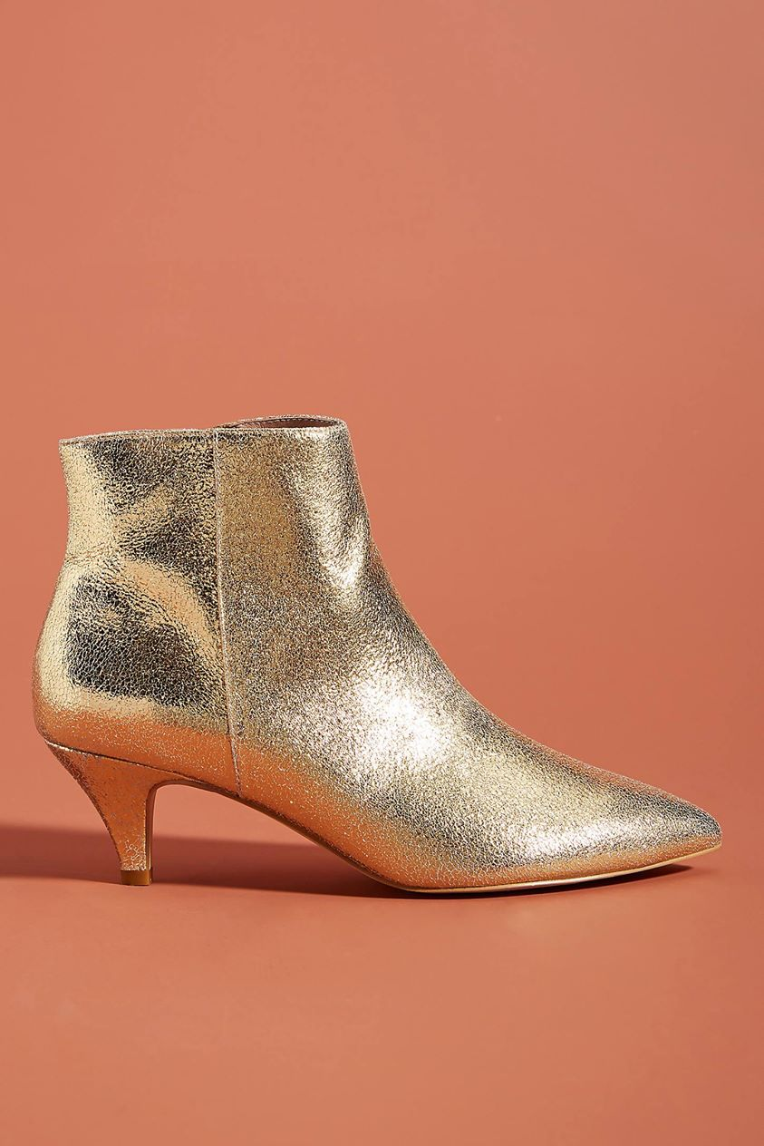 Kitten-Heeled Ankle Boots by Anthropologie in Gold