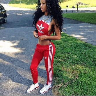 red pants red bottoms adidas red adidas red and white adidas track suit blouse red lime sunday