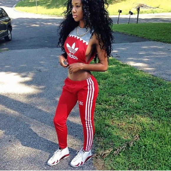 red pants red bottoms adidas red adidas red and white adidas track suit blouse