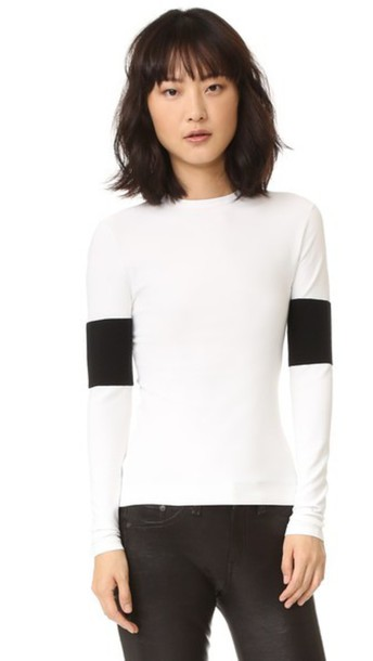 Narciso Rodriguez Long Sleeve Knit Top - White/Black