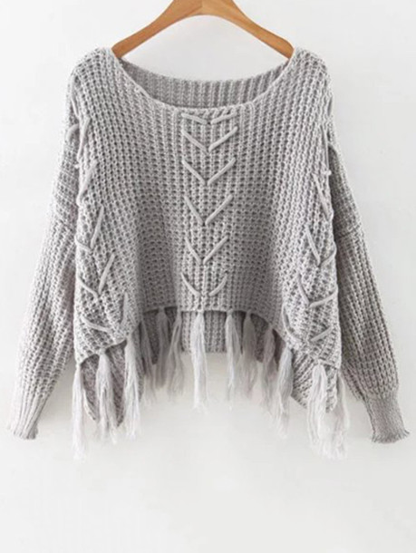 sweater fashion trendy grey fringes knitwear long sleeves warm fall outfits zaful