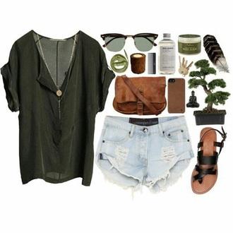 shirt blouse top shoes green black top denim distressed shorts