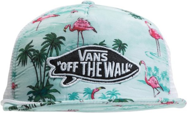 hat vans vans palm tree flamingo birds water summer surf summer sports 0642ad3f4